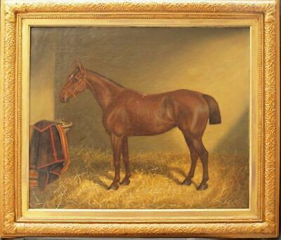 LARGE 19th Century BAY HORSE In A Stable Equestrian Antique Oil Painting SIGNED