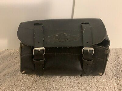 Harley Davidson Motorcycles Black Leather Small Accessory Bag. Bars Forks Tools