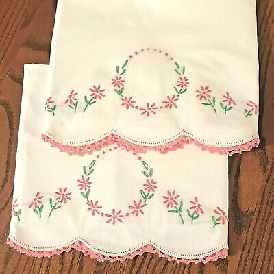 Pair of Vintage Embroidered Crochet Edge White Tubing Pillowcases - NICE ONES