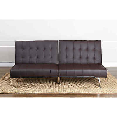 Prime Abbyson Jackson Dark Brown Leather Foldable Futon Sofa Bed Creativecarmelina Interior Chair Design Creativecarmelinacom