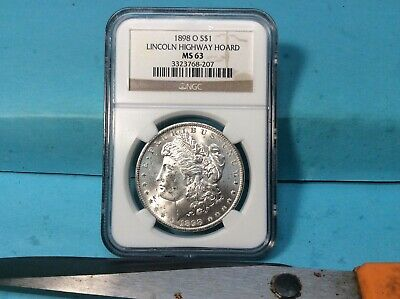 1898 O Morgan Silver Dollar  Ngc Ms 63 Lincoln Highway Hoard