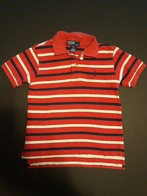 RALPH LAUREN Boys 3T Polo Shirt Short Sleeved Red with White Navy Stripe