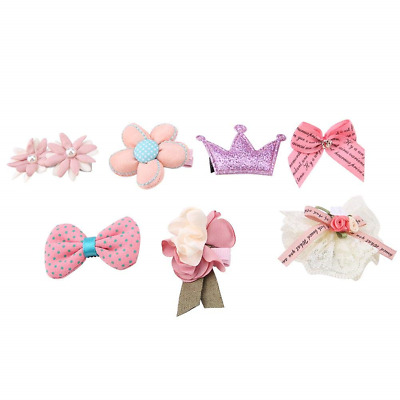 7Pcs/Set Pets Hair Clips Lovely Small Cats Dogs Hair Accessories Fashion Bow