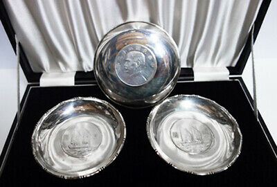 Eight Vintage Silver Chinese Coin Dishes in Original Box, Hong Kong