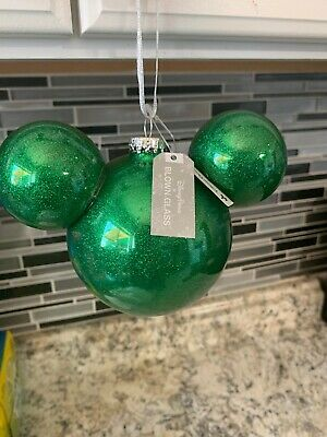 Disney Parks Blown Glass Glitter Mickey Mouse Icon Ears Ornament New With Tags