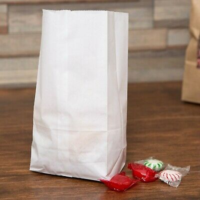 (500-Pack) 2 lb. White Disposable Paper Grocery School Lunch Bags, Made in USA