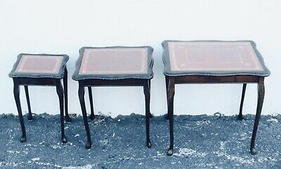 Vtg. 3 English queen Anne Red Leather top nesting tables side table Accent Table