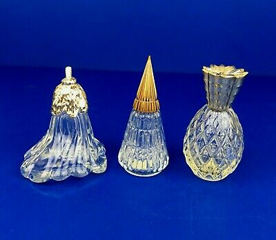 Avon Small Clear Ornaments Decanters Pineapple Lily Flower Cone