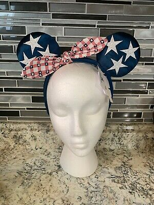 Disney Parks Minnie Mouse Ears All American Girl Patriotic Headband NWT