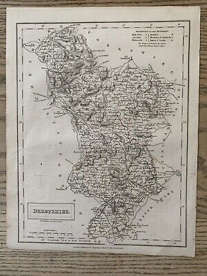 1833 Derbyshire Original Antique County Map By Sidney Hall 186 Years Old