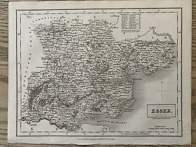 1833 Essex Original Antique County Map By Sidney Hall 186 Years Old