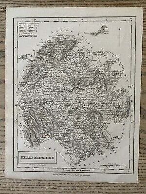 1833 Herefordshire Original Antique County Map By Sidney Hall 186 Years Old