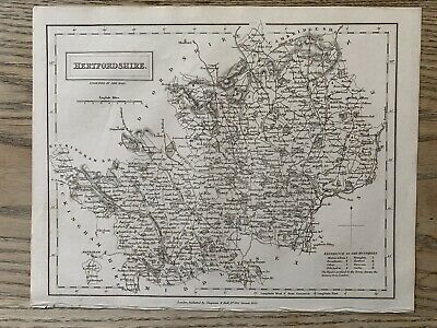 1833 Hertfordshire Original Antique County Map By Sidney Hall 186 Years Old