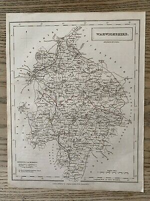 1833 Warwickshire Original Antique County Map By Sidney Hall 186 Years Old