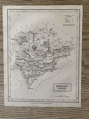 1833 Rutland Original Antique County Map By Sidney Hall 186 Years Old