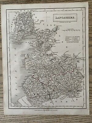 1833 Lancashire Original Antique County Map By Sidney Hall 186 Years Old