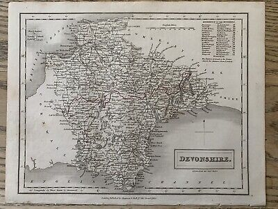 1833 Devon Original Antique County Map By Sidney Hall 186 Years Old