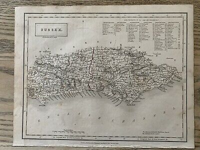 1833 Sussex Original Antique County Map By Sidney Hall 186 Years Old