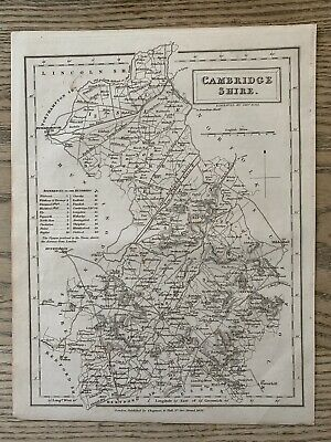 1833 Cambridgeshire Original Antique County Map By Sidney Hall 186 Years Old