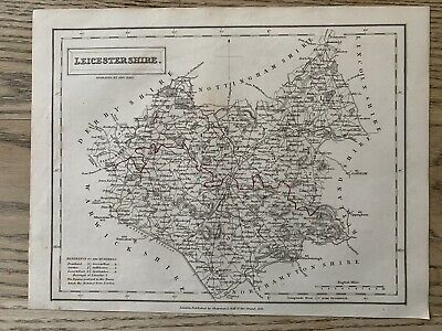1833 Leicestershire Original Antique County Map By Sidney Hall 186 Years Old