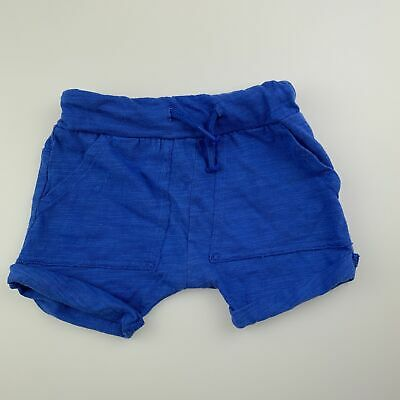 Boys size 00, Seed, blue lightweight cotton shorts, elasticated, GUC