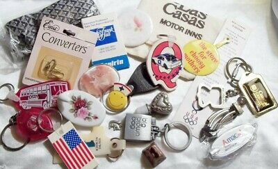 Junk Drawer Items Keychains, Jewelry, Snap-on Buttons, Crosses & Bell ~2jk