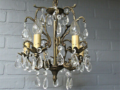 "Vintage Antique Petite Spanish Brass Chandelier Crystals Prisms 5 Arms 26 1/2""L"
