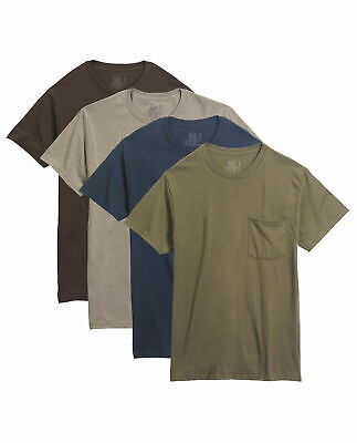 Fruit of The Loom 100% Cotton 4 Pack Pocket Tees Assorted Colors (Medium)