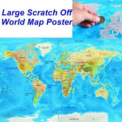 """Large Scratch Off World Map Poster with Mountains,Rivers,Cities,Flags 32.5*23.4"""""""