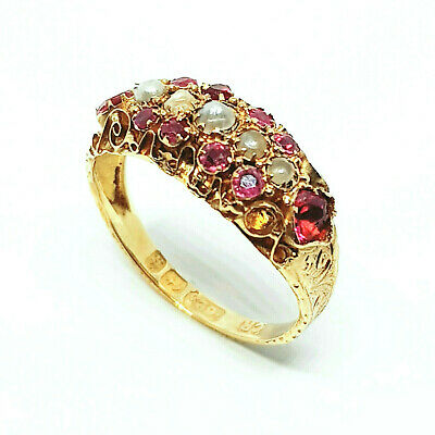 Stunning Antique Victorian 15 Carat Gold Diamond, Ruby And Seed Pearl Ring 1851