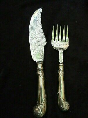 Antique English Silver Plate Fish Knife & Fork Server Engraved Vintage 1900's