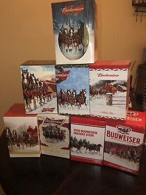 Lot Of Budweiser Holiday Steins: 2007, 2008, 2009, 2010, 2012, 2014, 2016, 2018