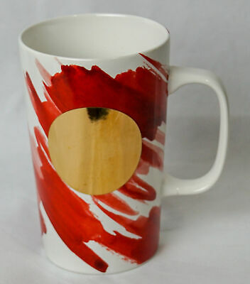 StarBucks 2014 Red White Abstract  Water Colors 16 Oz Tall Ceramic Mug Cup