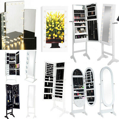 LED Lighted Mirrored Jewelry Box Cabinet Armoire Body Mirror Storage Home Decor