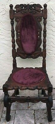 Jacobian Style Old Vintage Antique  Chair Wood Carved ,used In Good Condition