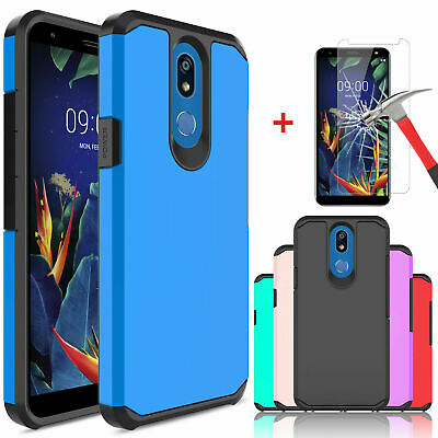 For LG K40 LMX420 Shockproof Case Cover Armor + Tempered Glass Screen Protector