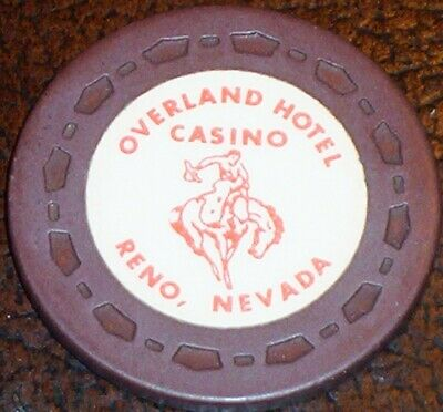 Old OVERLAND Casino Roulette Chip Vintage Antique Small Crown Mold Reno NV 1968