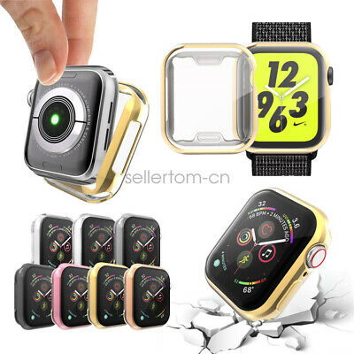 2 Pack TPU Plated Cover Case With Screen Protector For Apple Watch 44mm 40mm