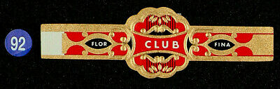 92Az-CUBA Vitola Antigua-Old Cigar Band-Marca CLUB, FLOR FINA