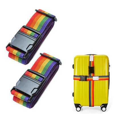 2 Pack Adjustable Travel Luggage Suitcase Strap Baggage Backpack Bag Cross Belt