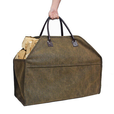 Portable Large Fireplace Firewood Log Tote Hand Bag Carrier Holder Organizer