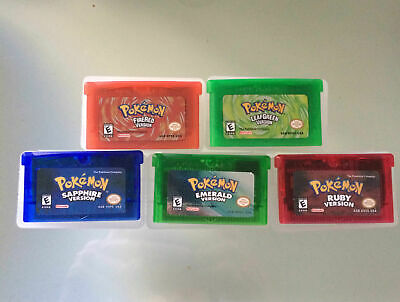 5x Pokemon GBA Gameboy SP DS Games Sapphire, Ruby, Emerald, Fire Red, Leaf Green