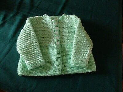 NEW - Hand knitted matinee jacket - green with white knitted in -  0 to 1