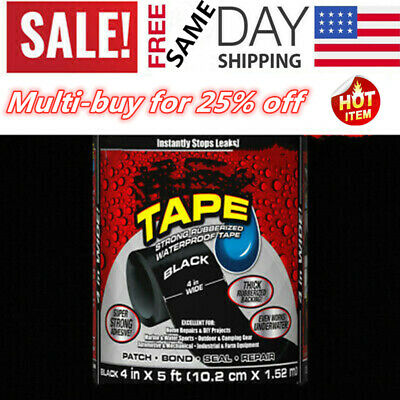 """Tape 4"""" x 5' Super Strong Rubber Waterproof Adhesive Sealant Patch Leaks Flexble"""