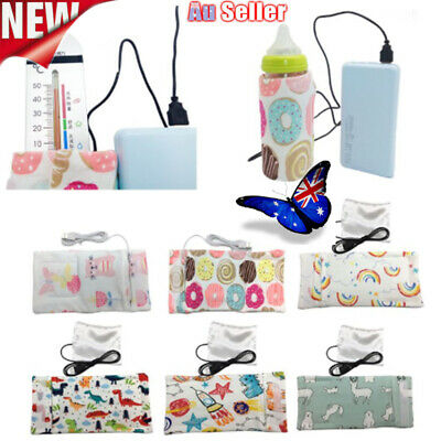 2pcs USB Milk Bottle Insulation Bag Cup Hang Warmer Thermal Cover Mummy Pouch AU