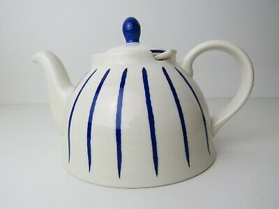 New Whittard Solen Teapot with removable infuser, white blue