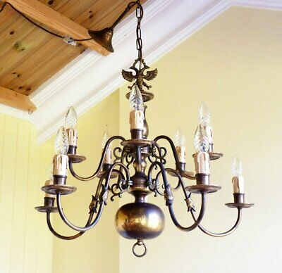 Antique Vintage Brass Flemish Chandelier 10 light 2 tier Rewired ready to hang