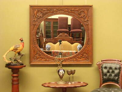 LARGE ANTIQUE OAK OVER MANTLE OR WALL MIRROR ~ BEAUTIFUL CARVED DETAIL  c1900s
