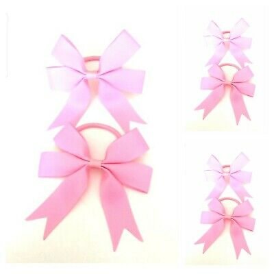 Handmade Girls Hair Bow Bobbles Baby Pink Sold In Pairs