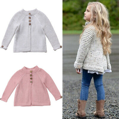 US Kids Toddler Baby Girl Long Sleeve Warm Sweaters Knitted Cardigan Outerwear